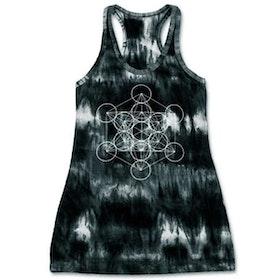 Yogalinne långt Metatrons kub  - mörkgrå batik