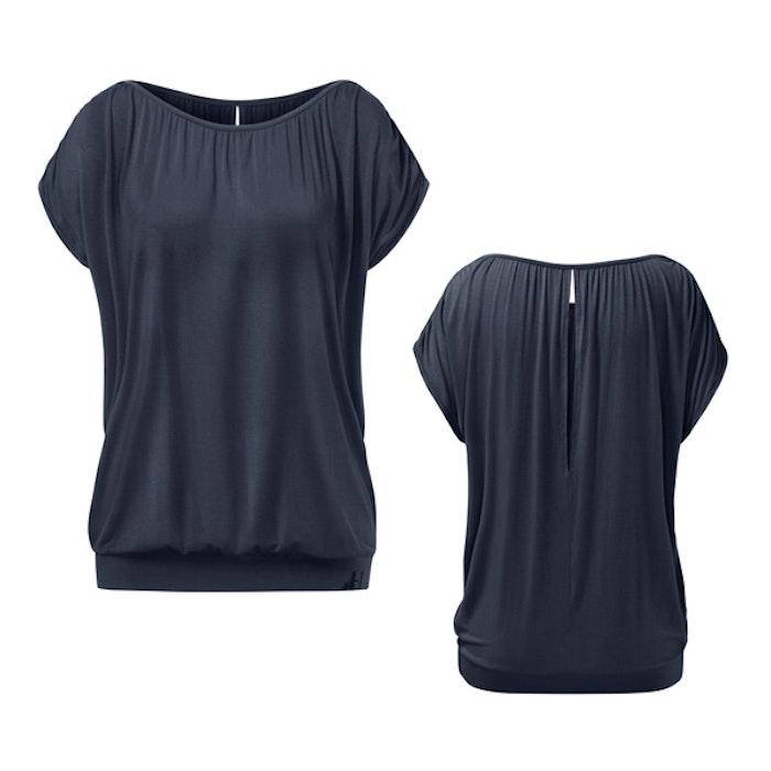 Yogatopp Top Crinkled shoulder Midnight blue från Curare Yogawear