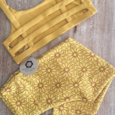 Sport-BH Yoga Boxy crop top Saffron - Indigo Luna
