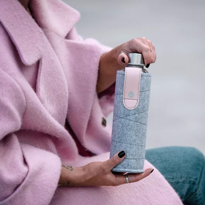 Vattenflaska Mismatch Pink Breeze i glas - Equa