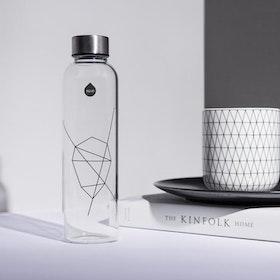 Vattenflaska Mismatch Black print i glas