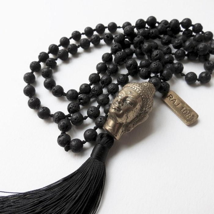 Halsband Black Lava / Hänge med Buddha - RAJ 108