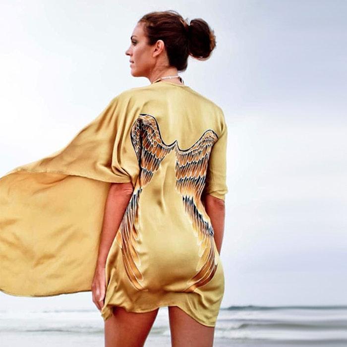 "Luxe silk kimono ""Golden goddess"" - Warriors of the divine"