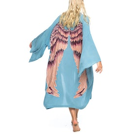 "Everyday kimono ""Ice blue aubergine wings"" - Warriors of the divine"
