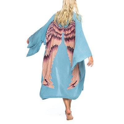 "Everyday kimono ""Ice blue aubergine wings"" - Warriors of the divine"