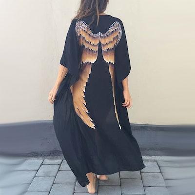 "Everyday Kaftan top ""Black caramel wings"" long- Warriors of the divine"