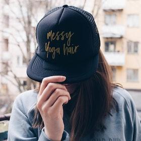 Messy yoga hair keps