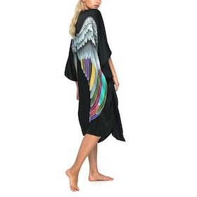 "Luxe silk kimono long ""Black silver warrior wings"" - Warriors of the divine"