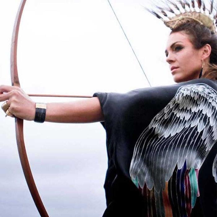 "Luxe silk kimono ""Black silver warrior wings"" - Warriors of the divine"
