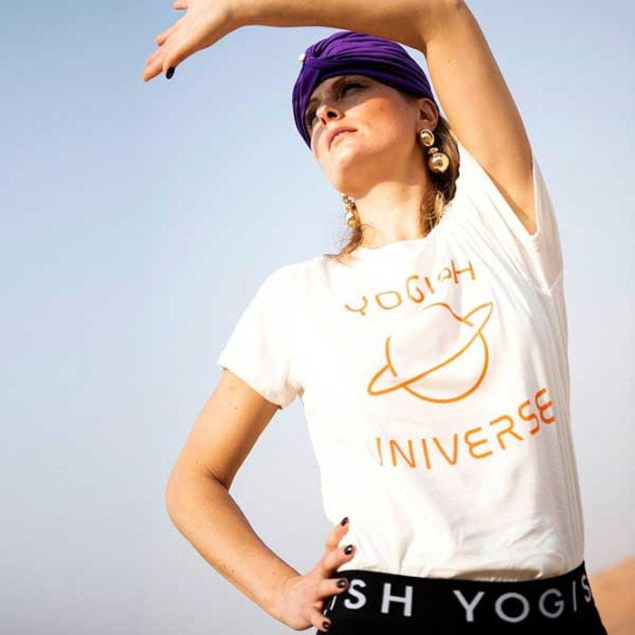 "Tröja Kim Unisex ""Yogish Universe Planet"" från Yogish Collective - Coconut milk"