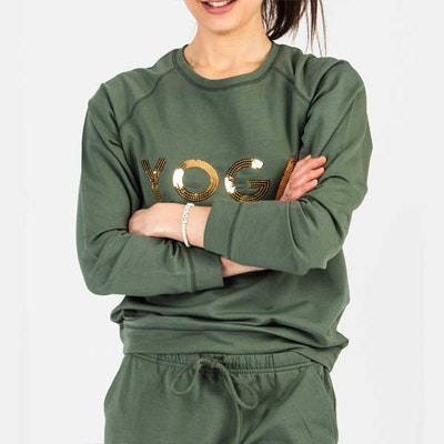 Yoga Khaki Paljett Sweater YOGA - Wear my yoga