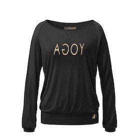 Yogatopp Raglan Gold/black shirt - Curare Yogawear