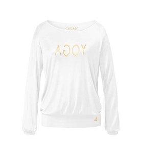 Yogatopp Raglan Gold/white shirt - Curare Yogawear