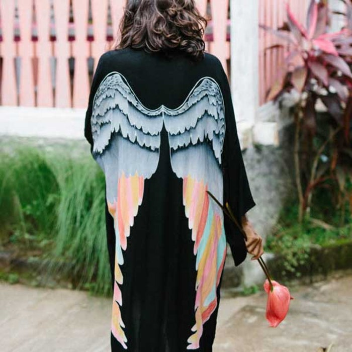 "Everyday kimono ""Black silver warrior pastel wings"" long- Warriors of the divine"
