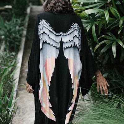 "Everyday kimono ""Black silver warrior pastel wings"" - Warriors of the divine"