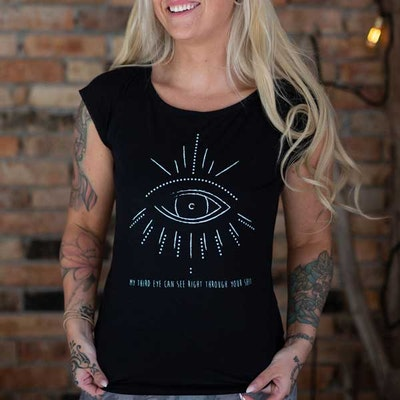 "T-shirt ""My third eye can see right through your shit"" Black - Yogia"
