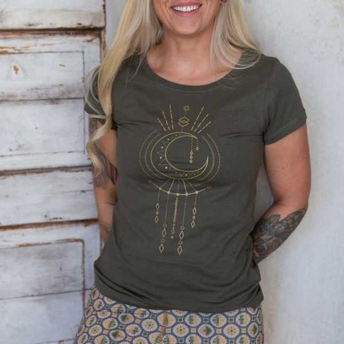 T-shirt Geometric moon Khaki Green - Yogia