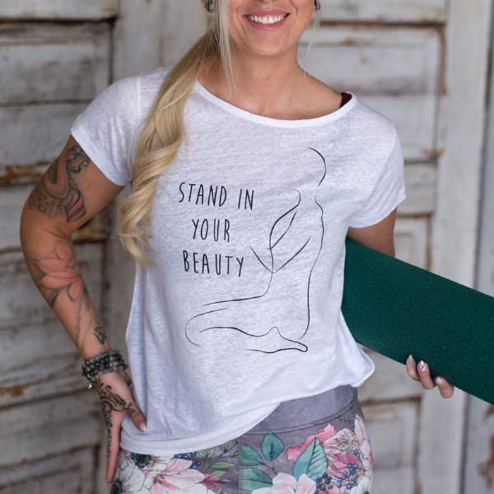"Yogia tröja i 100% linne  ""Stand in your beauty"""