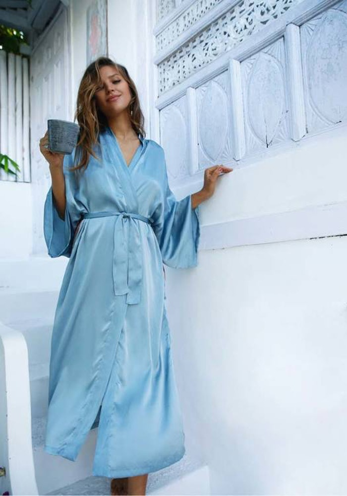 "Silk angelwings Bathrobe ""Ice blue"" - Warriors of the divine"