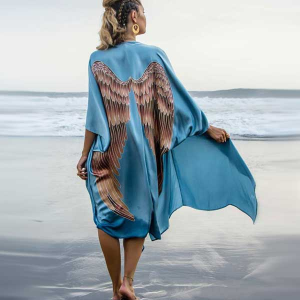 "Luxe silk kimono ""Ice blue"" long - Warriors of the divine"
