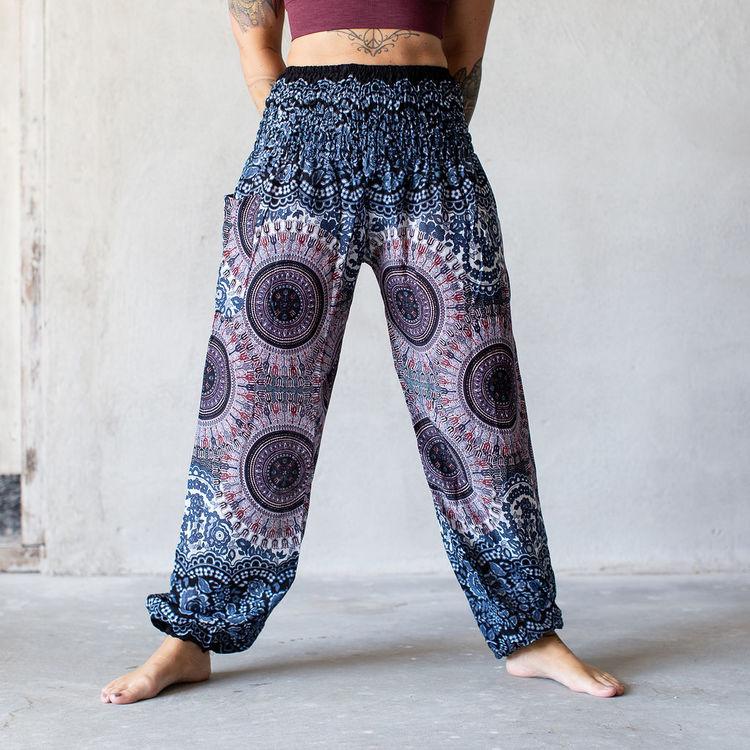 Relaxbyxa raka mörkblå cirklar - Bohemian Harem