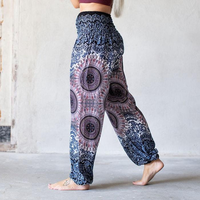Relaxbyxa nr. 15 raka mörkblå cirklar - Bohemian Harem