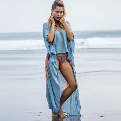 "Everyday Kaftan top ""Ice blue"" long- Warriors of the divine"