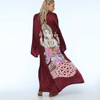 "Silk Bathrobe ""Ganesha´s got your back Maroon"" - Warriors of the divine"