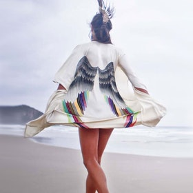 "Luxe silk kimono long ""Cream silver warrior wings"" - Warriors of the divine"