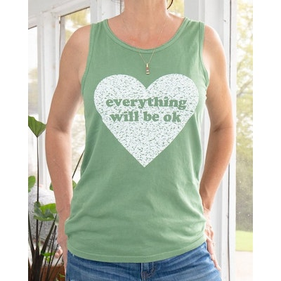 "Linne ""Everything will be ok"" grön -  SuperLove Tees"