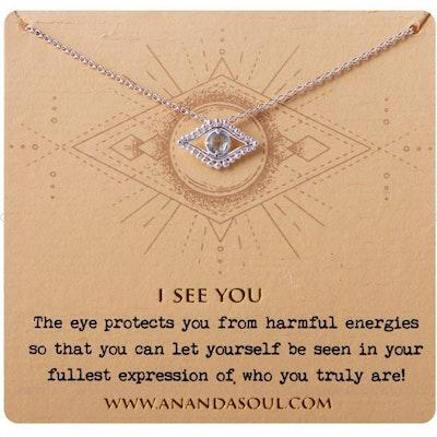 "Halsband ""I see you"" i silver från Ananda Soul"