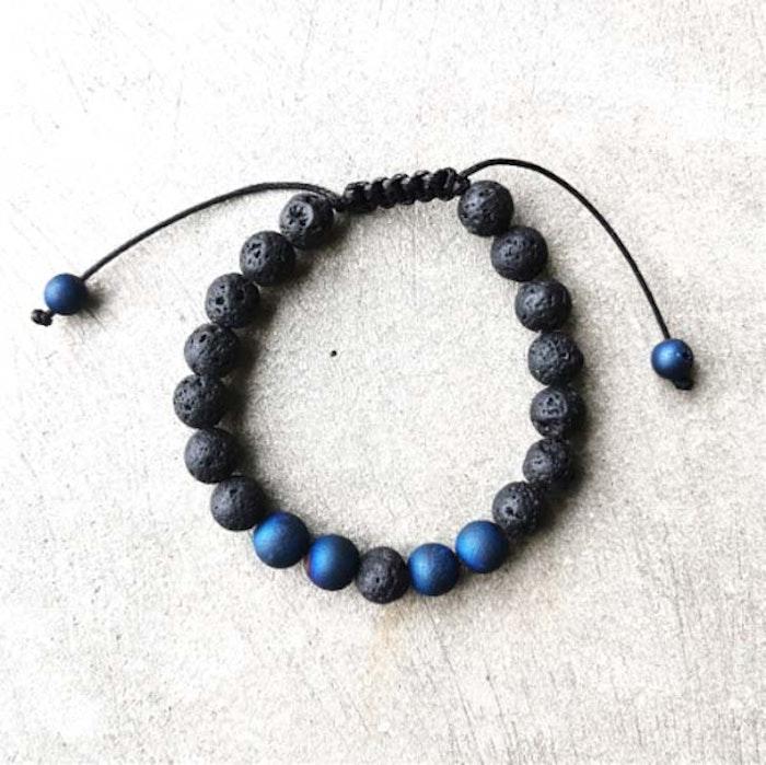 Stenarmband Unisex Lavasten - blå