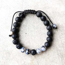 Stenarmband Unisex Lavasten - grå/svart
