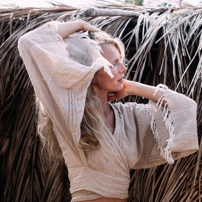 Khadi longsleeve wrap top - Chintamani Alchemi