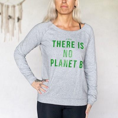 "Tröja ""There is no planet B"" Grå - Yogia"
