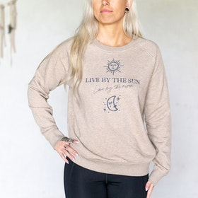 "Sweatshirt ""Live by the sun - Love by the Moon"" Sand - Yogia"