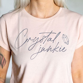 "T-shirt ""Crystal junkie"" Misty Pink - Yogia"