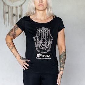 T-shirt Ahimsa Hamsa i modaltyg Asfalt - Yogia