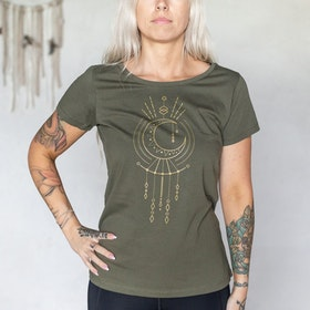 T-shirt Geometric moon Khaki Green - Yogia