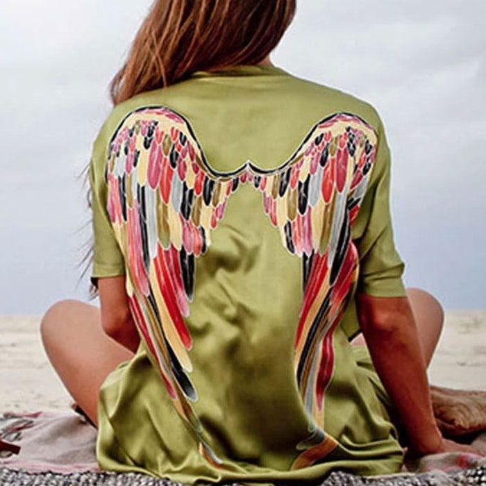 "Luxe silk kimono short ""Olive warrior wings"" - Warriors of the divine"