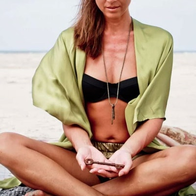 """Luxe silk kimono short """"Olive warrior wings"""" - Warriors of the divine"""