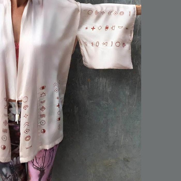 """Luxe silk kimono """"Atoms of the universe"""" champagne - Warriors of the divine"""