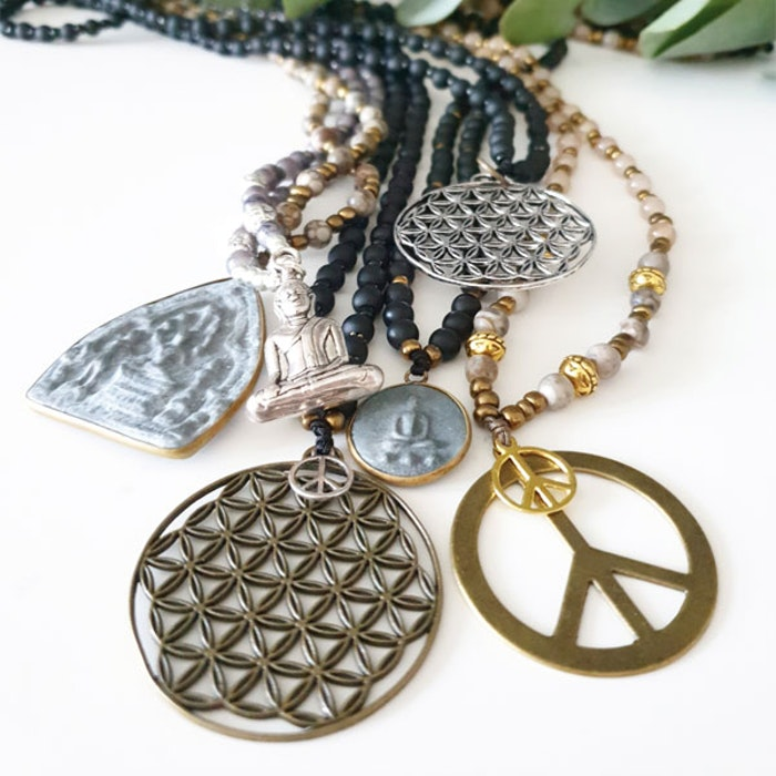 Stenhalsband Buddha Maifanite - Paz By Julia
