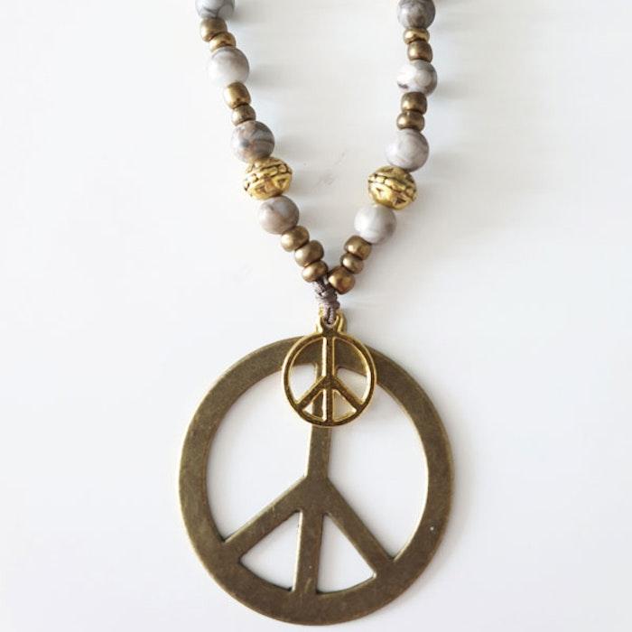 Stenhalsband Peace Guld - Paz By Julia