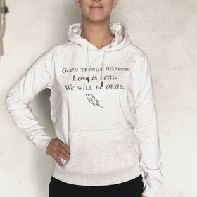 "Hoodie ""Good things happen"" cream grey- Yogia"