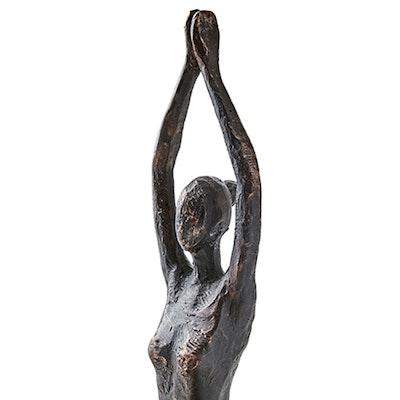 Staty Yoga Brons/Svart Sittande Twist