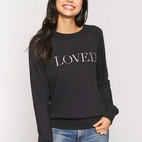 "Tröja ""Loved"" Old School Sweatshirt Vintage black - Spiritual Gangster"
