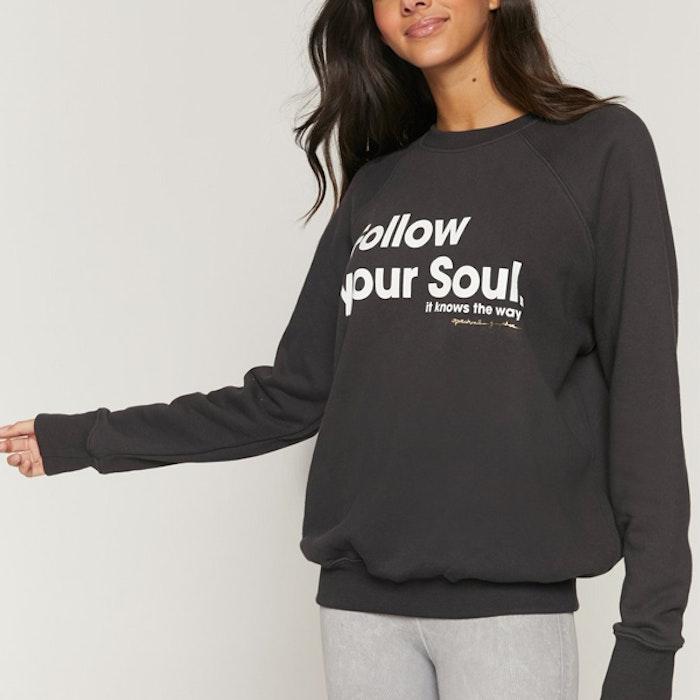 "Tröja ""Follow Your soul"" Classic Crew Sweatshirt Vintage Black - Spiritual Gangster"