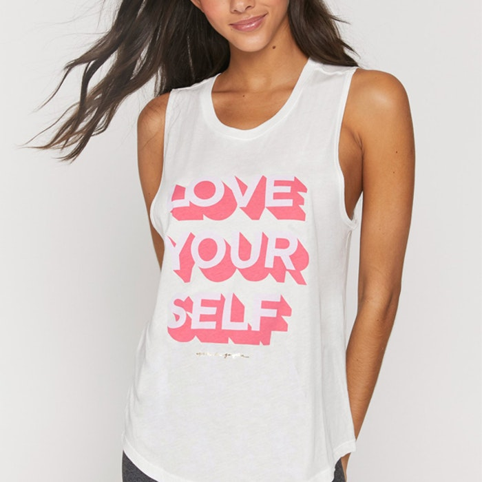 """Linne """"Love Yourself"""" Muscle Tank Stone White - Spiritual Gangster"""