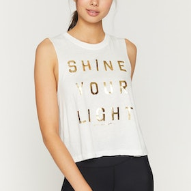 "Linne ""Shine Your Light"" Crop Tank Stone White - Spiritual Gangster"